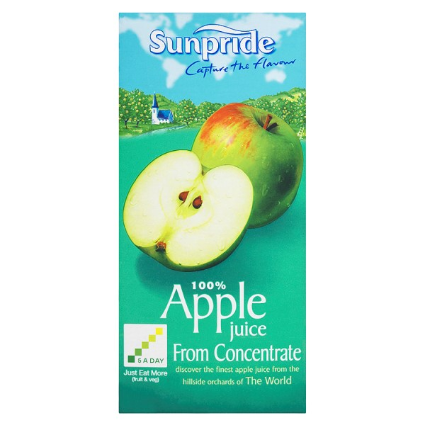 Sunpride 100% Apple Juice From Concentrate 1Litre