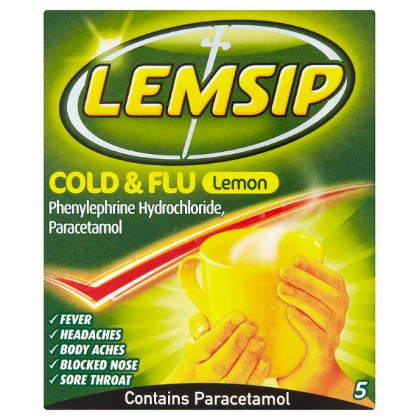 Lemsip Cold and Flu Lemon (5 Sachets)