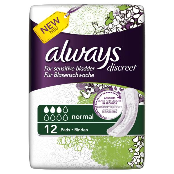 Always Discreet Incontinence Pads Normal x 12