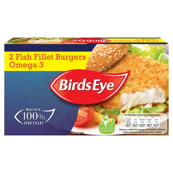 Birds Eye 2 Omega 3 Fish Fillet Burgers 227g