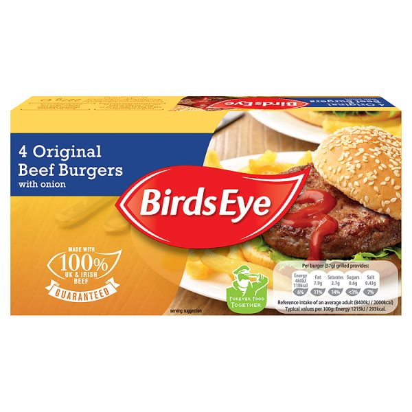 Birds Eye 4 Original Beef Burgers with Onions 227g