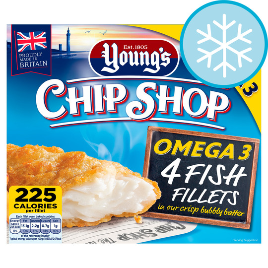 Youngs Chip Shop 4 Fish Fillets in Batter 400g