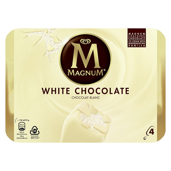 Magnum White Chocolate Ice Cream *** 4 PACK ***