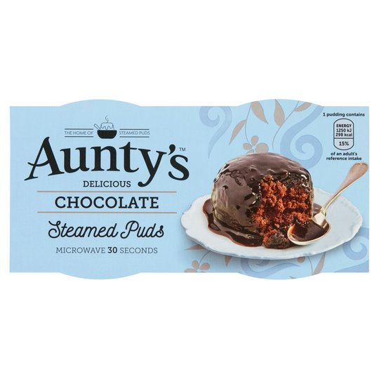Auntys Chocolate Steamed Puddings 2 X 95G
